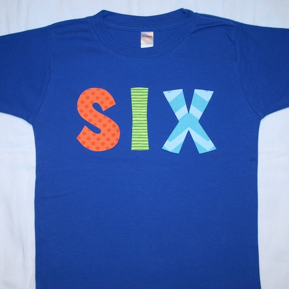 Boys 6th Birthday SIX Shirt Size 6 Primary Blue Long Sleeve