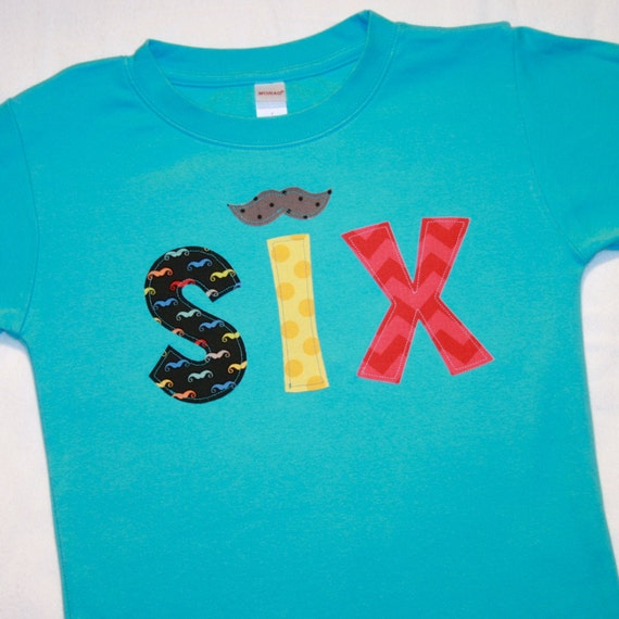 Mustache Birthday Boys Shirt SIX Boy 6th Aqua Blue Yellow Red Black
