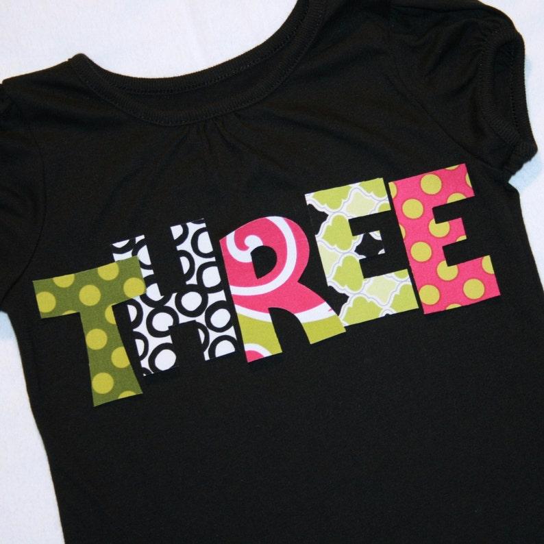 cb7a31c27 Girls THREE shirt Black Pink Green 3rd Birthday Girl Size   Etsy