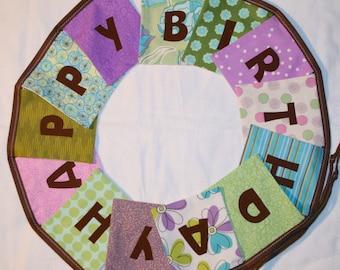 Girls HAPPY BIRTHDAY Reusable Fabric Banner - Purples, Greens, Aqua Blue - girls birthday decor, birthday bunting, purple green blue