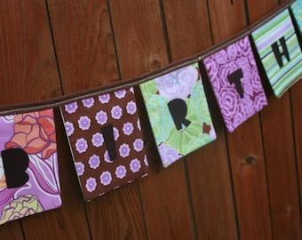 Girls HAPPY BIRTHDAY Reusable Fabric Banner - Urban Garden in Pink Purple Orange Aqua Blue - Girls birthday decor, garden party birthday