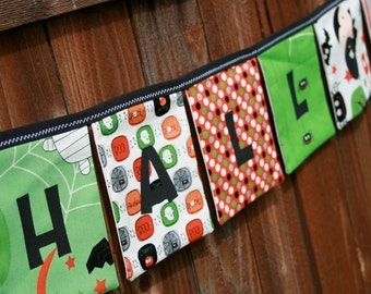 HAPPY HALLOWEEN Reusable Fabric Banner - Boo to You fabrics by Riley Blake in Black Green Orange