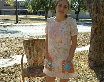 A Line Mini Dress Big Pockets Repurposed Fabrics Vintage Recycled Materials Boho Chic