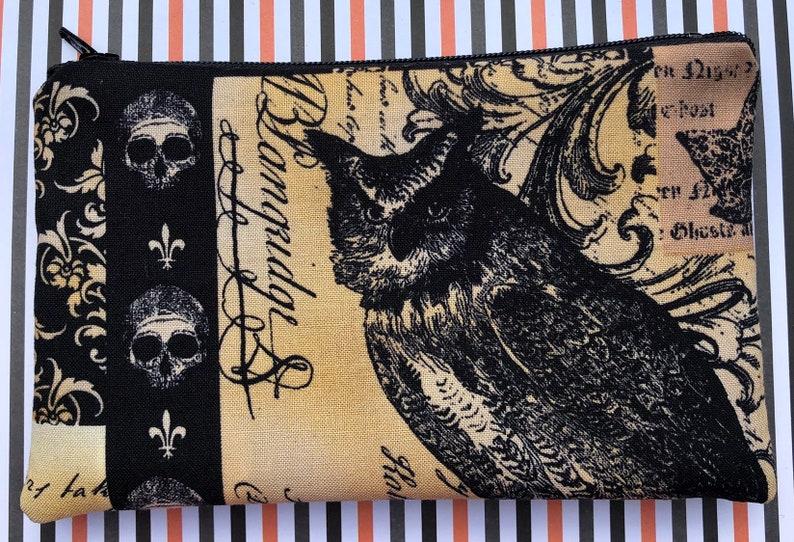 Nevermore Zipper Pouch: Owl Skulls Bugs. Edgar Allan Poe. image 0