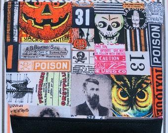 Vintage Halloween Cosmetic Bag: Edgar Allan Poe, Skulls, Owls, Poison. Eclectic Elements, Tim Holtz. Makeup Bag, Zipper Pouch.