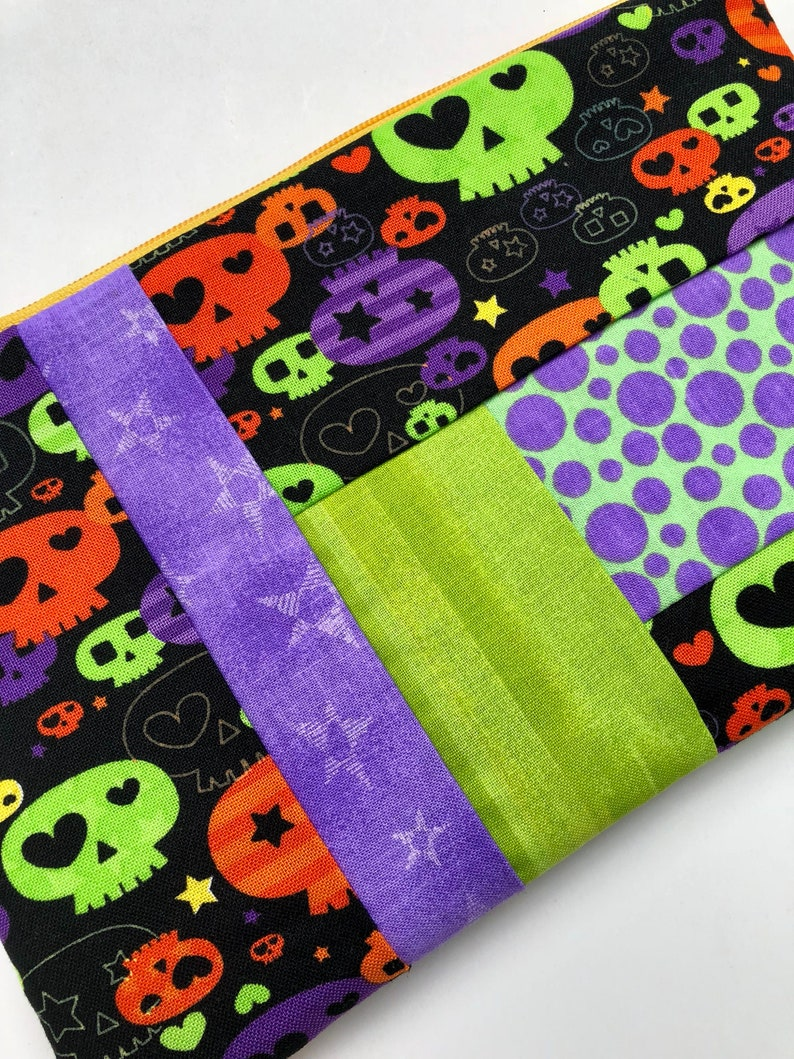 Halloween Skulls Patchwork Zipper Pouch: Purple and Green image 0