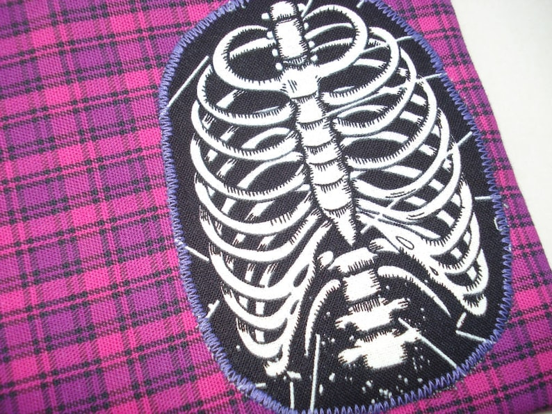 Ribcage Pouch: Pink Plaid Skeleton Glow in the Dark. Doctor image 0