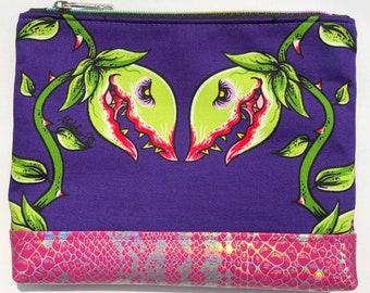 Audrey II Cosmetic Bag: Little Shop of Horrors, Venus Flytrap. Makeup Bag, Zipper Pouch.