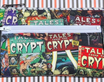 Tales From the Crypt Double Zipper Pouch - Cryptkeeper, Comic Books, Horror Fans. Makeup or Travel Bag.
