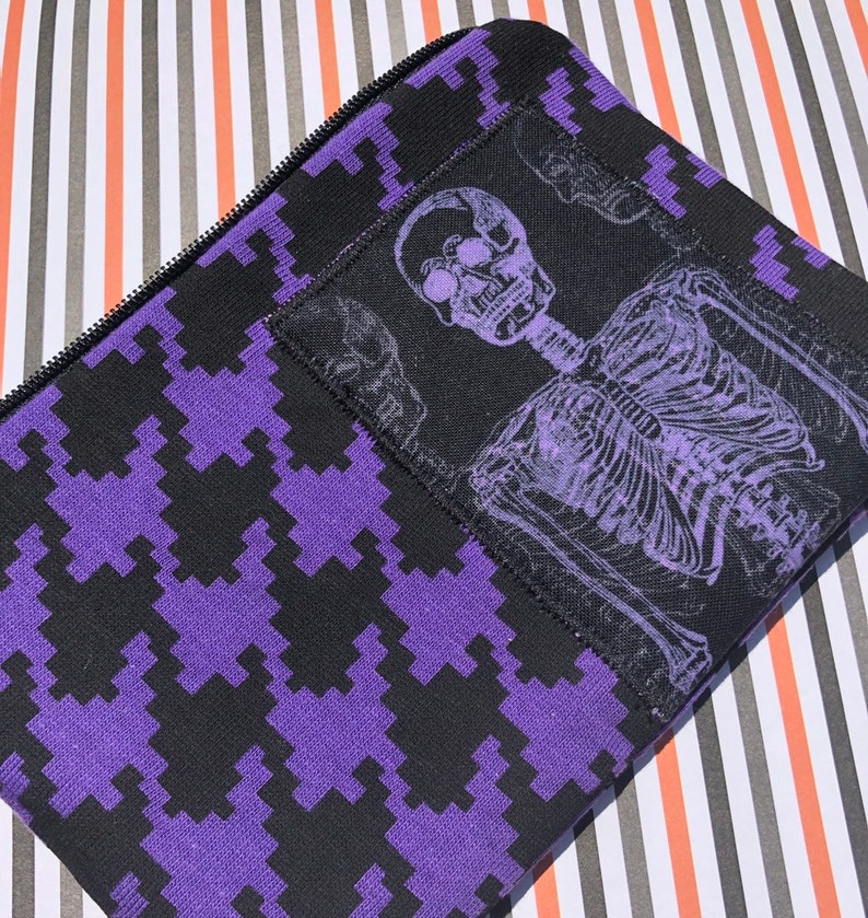Skeleton Appliqué Zipper Pouch  Houndstooth Purple and image 0