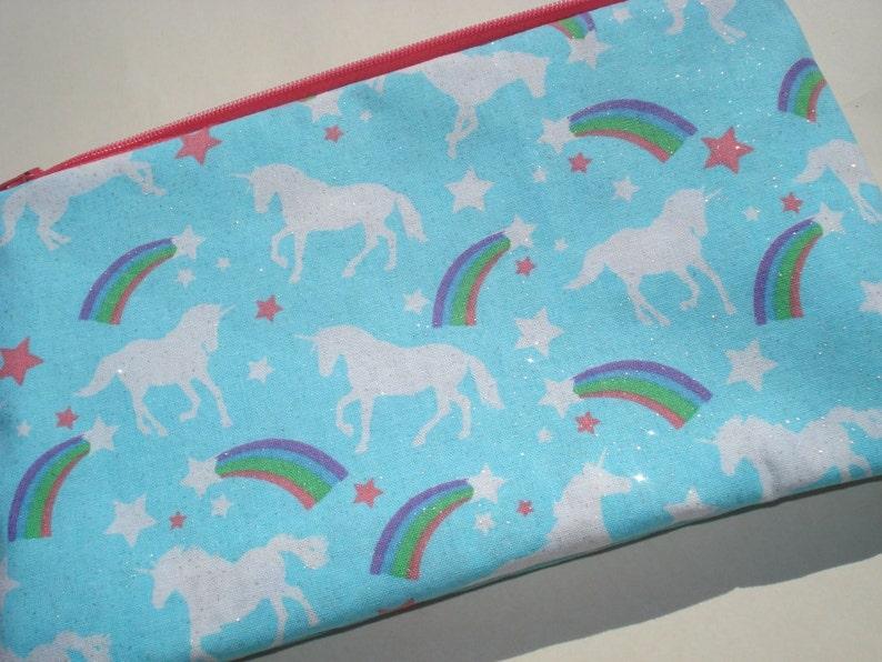 Large Unicorns Zipper Pouch. Rainbows Sparkles Glitter. image 0