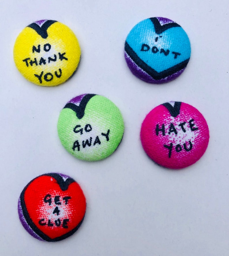 Anti-Valentine's Day Magnets  Set of 5. Candy Heart image 0