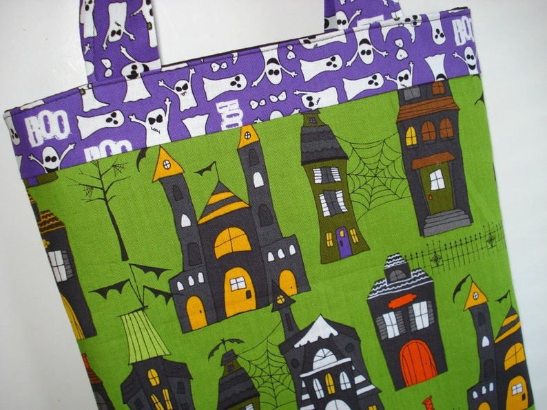 CLEARANCE Haunted Houses Halloween Tote Bag: Ghosts image 0
