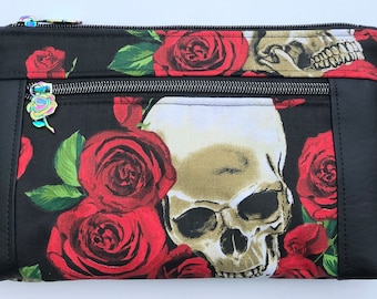 Skulls And Roses Double Zipper Pouch: Floral Goth, Spooky. Makeup Bag, Travel Bag.