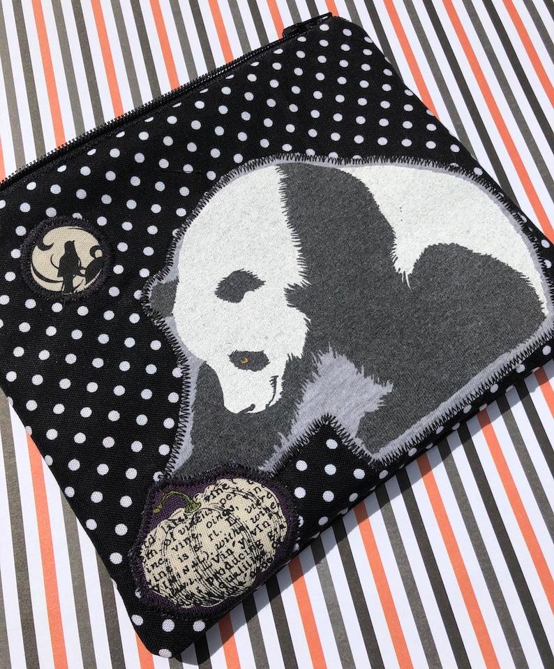 Halloween Panda Zipper Pouch  Pumpkins Polka Dots Appliqué. image 0