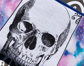 Galaxy Skull Cosmetic Bag: Outer Space, Skeleton, Makeup Bag, Zipper Pouch.