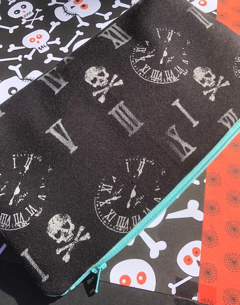 SALE Skulls Clocks and Roman Numerals Cosmetic Bag. image 0