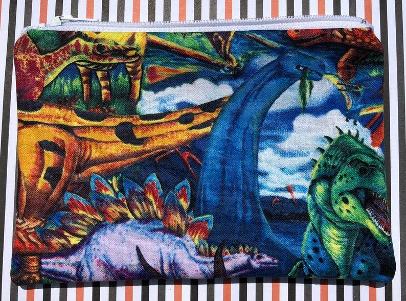 SALE Dinosaurs Zipper Pouch: Stegosaurus Ankylosaurus image 0