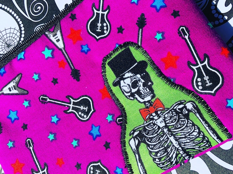 Skeleton Appliqué Zipper Pouch  Guitars Top Hat Bow Tie image 0