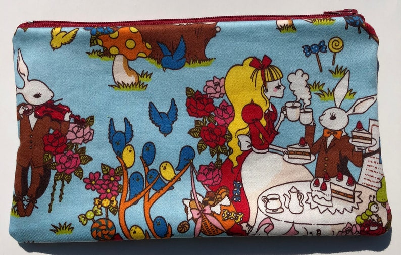 SALE Alice in Wonderland Zipper Pouch: Cheshire Cat Mad Tea image 0
