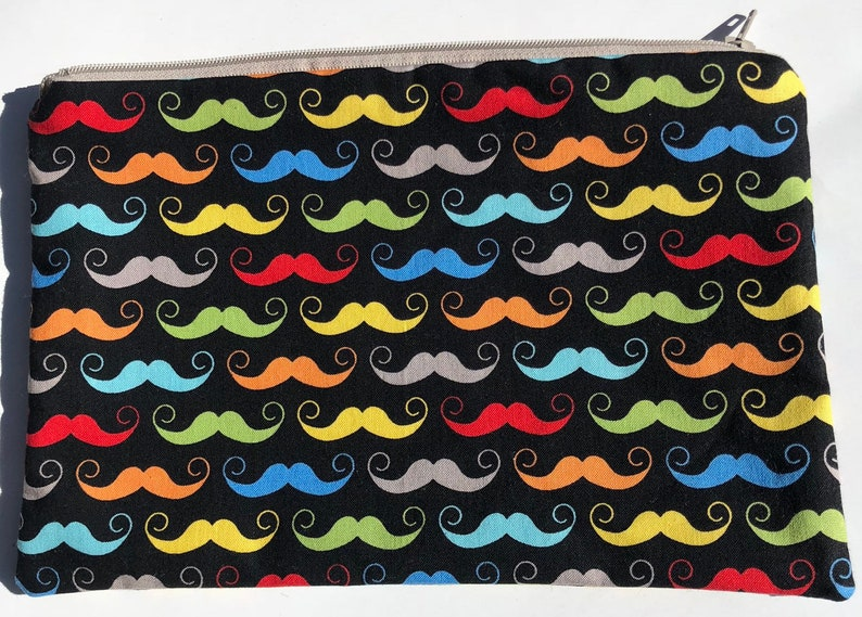 CLEARANCE Mustache Zipper Pouch: Geekly Chic Hipster. On image 0