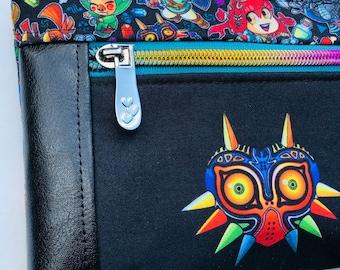 Legend of Zelda Double Zipper Pouch: Link, Majora's Mask, Videogames. Makeup Bag, Travel Bag.