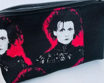 Edward Scissorhands Cosmetic Bag. Movies, Goth, Fantasy. Makeup Bag, Zipper Pouch.