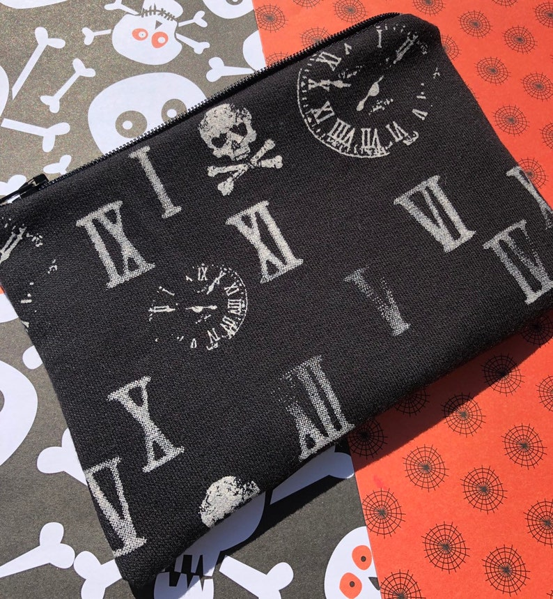 Skulls Clocks and Roman Numerals Zipper Pouch image 0