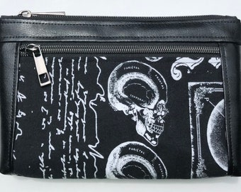 Skulls And Script Double Zipper Pouch: Anatomy, Medical Device, Spooky. Makeup Bag, Travel Bag.