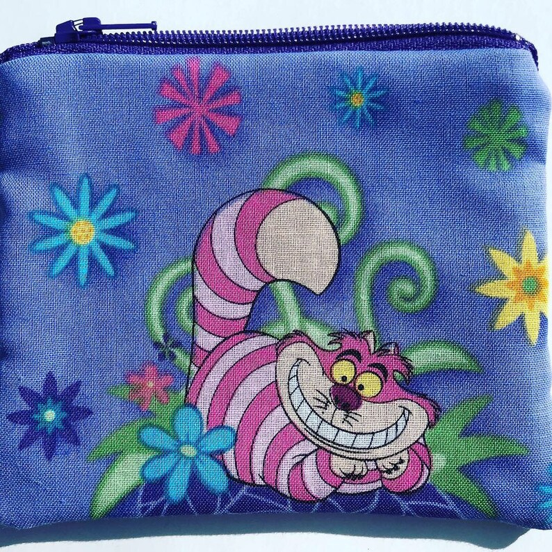 Alice in Wonderland Coin Pouch: Cheshire Cat Mad Tea Party. image 0