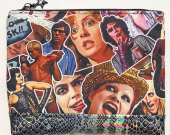 Rocky Horror Picture Show Cosmetic Bag: Frank-N-Furter, Brad and Janet, Riff Raff, Magenta, Columbia. Makeup Bag, Zipper Pouch.