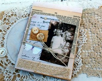 Itty Bitty Tea Stained Vintage Journal  Little Girl  5 1/4 inches tall by 3 3/4 inches wide