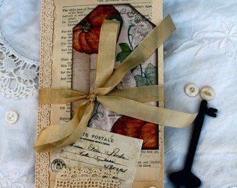 Tea Stained Pumpkin Journal 9 inches tall by 4.5 inches wide