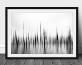 Black and White Abstract Nature Photography Framed - Blurred Tree Print - Abstract Woodland Print - Minimalist Nature Wall Art