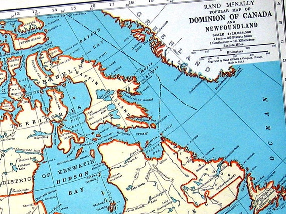 Map Of Canada And Map Of Prince Edward Island 1936 Vintage Etsy