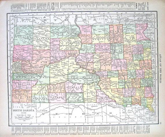 1914 Antique Map Map of South Dakota and North Dakota USA   Etsy