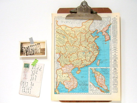 China map japan map 1936 vintage map from world atlas 11 x etsy image 0 gumiabroncs Gallery