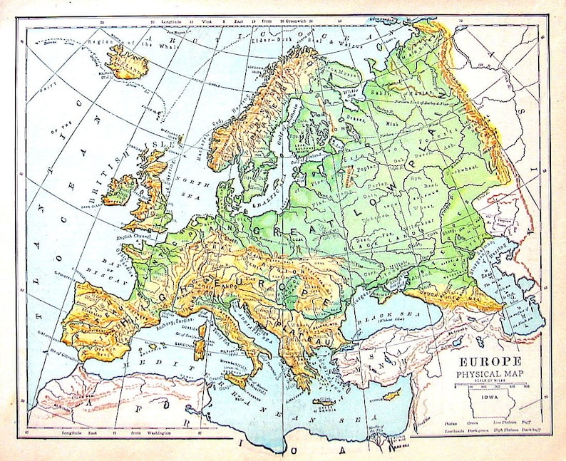 Map of Europe Physical Map Antique Map Dated 1888 World   Etsy