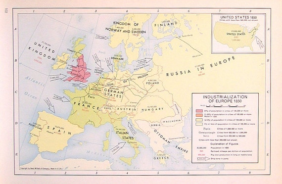 Items Similar To Industrialization Of Europe 1850 1957 Vintage Map
