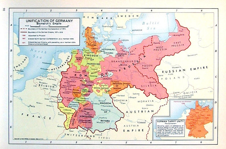 Map Of Germany Before Unification.Unification Of Germany Bismarck S Empire 1957 Vintage Etsy