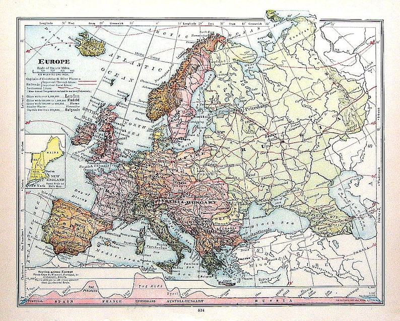 1906 Antique Colored Map of Europe from Antique Geography | Etsy
