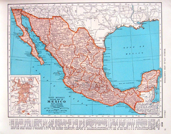 1944 vintage map mexico map central america map 2 sided gumiabroncs Choice Image