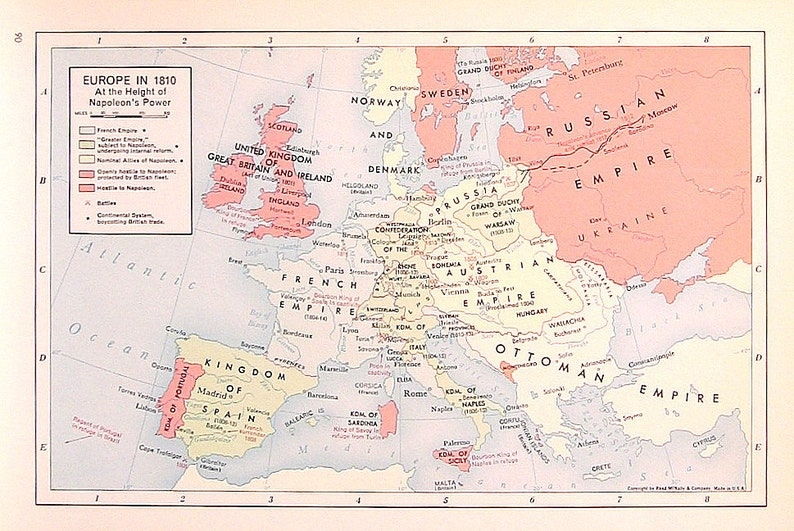 Europe In 1810 1957 Vintage Map Vintage Atlas Page Etsy