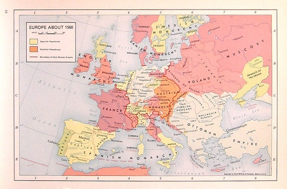 Map Of Europe 1560.Items Similar To Europe About 1560 1957 Vintage Map Vintage