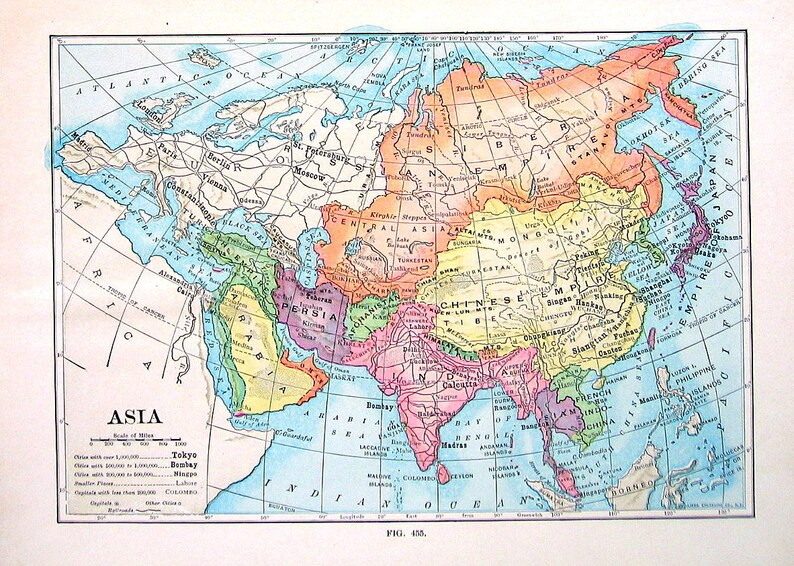 World Atlas Map Of Asia.Asia Map Antique 1910 World Atlas Book Plate 9 X 7 Ta Etsy