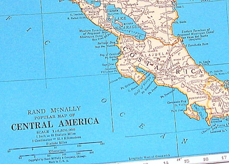 Map of Central America Map of the West Indies 1936 Vintage | Etsy