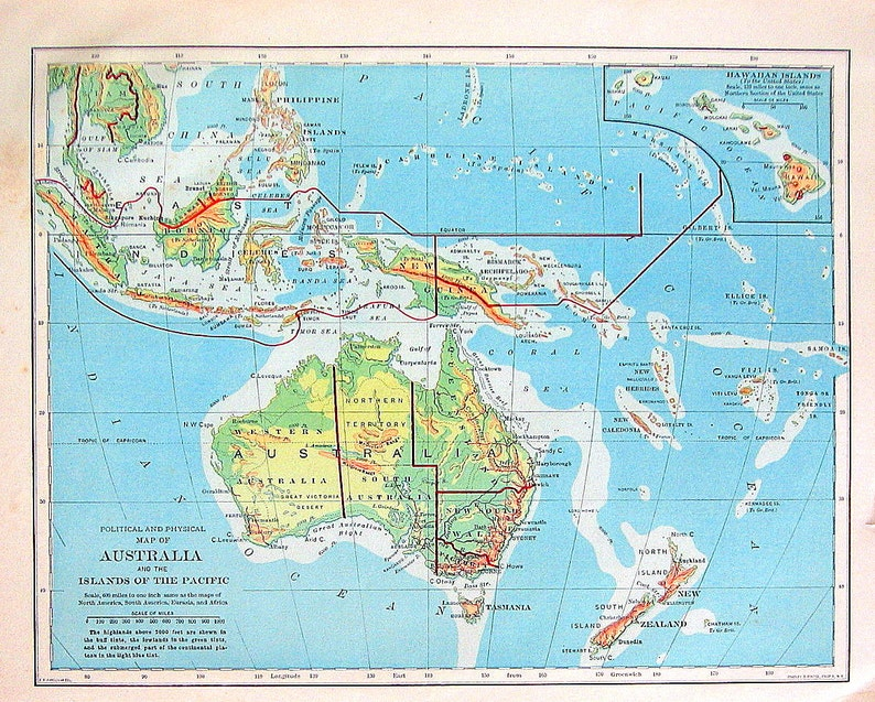 Map Of Australia Islands.1898 Antique Map Australia And The Islands Of The Pacific Etsy