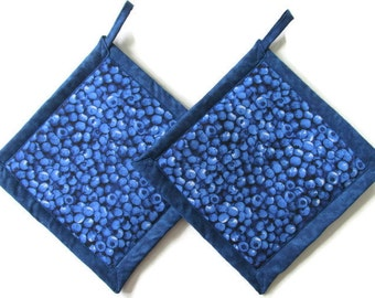 Blueberry Potholders, Blueberry Pot Holders, Set Blueberries Potholders,  Blueberry Theme Kitchen, Blueberry Kitchen Decor
