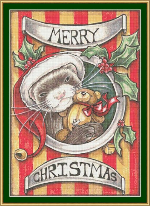 Christmas Ferret cross stitch pattern modern counted cross | Etsy