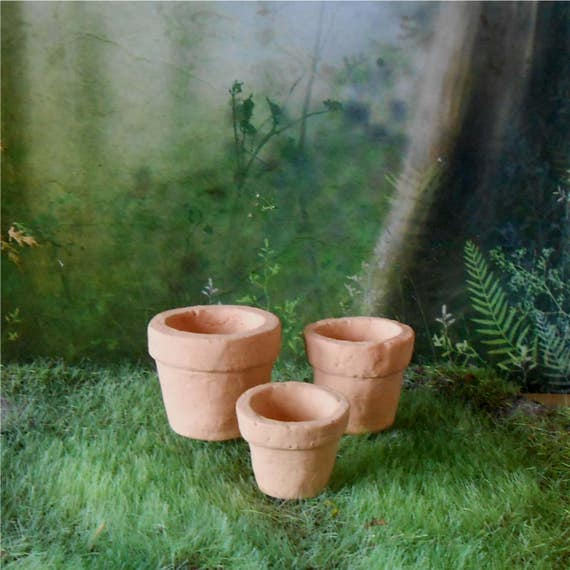 Etsy & Set of 3 Miniature Clay Flower Pots~1 - 1/2 Inches~Miniature Flower Pots~Fairy Garden Pots~Miniature Garden Flower Pots~Mini Clay Pots